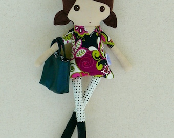 Fabric Doll Rag Doll Pointy Toed Doll in Fuchsia and Black Floral Top with Black Boots and Polka Dotted Leggings with Handbag