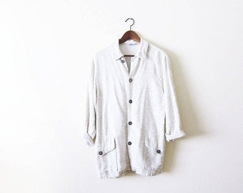 90s Cream White Slouchy Jacket / vintage CP Shades Rayon Jacket / Minimalist Clothing / Natural Fiber Clothing / 90s Minimalist Fashion