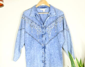 vintage acid wash denim jacket with rhinestone embellishment // 90s oversized button up