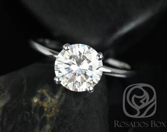 Rosados Box Sandra 8mm 14kt White Gold Round F1- Moissanite and Diamond Rim Basket Engagement Ring