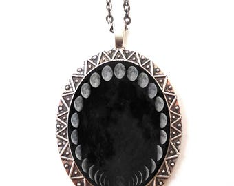 Moon Phases Necklace Pendant Silver Tone - Lunar Outerspace Space Universe