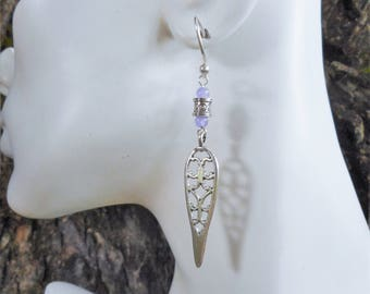 Jade earrings,long earrings, silver earrings, lavender jade earrings,silver drop earrings, boho earrings,bohemian jewelry, filigree earrings