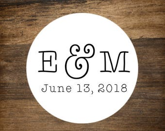 "Monogram labels, 1.5"" round, set of 30.  Wedding monogram, personalized stickers. White or Kraft brown. Bridal shower, party favor sticker."