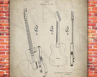 Fender Guitar Patent Print - Electric Guitar Print - Guitar Art - Guitar Blueprint - Patent - Musician Gift - #BW-P-086