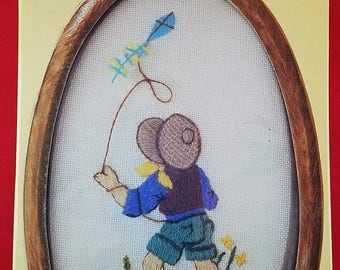 Crewel Kit of Child Flying Kite--INCLUDES FRAME