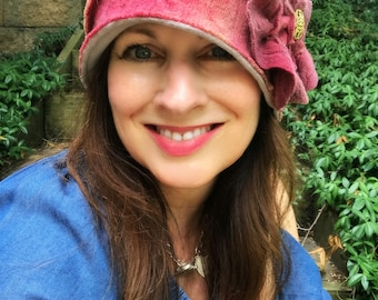 Gorgeous Felted Wool Cloche Hat Kate Middleton Paris London Overdyed Wool Rose Heirloom