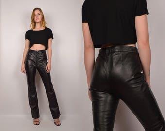 Vintage Black Leather Pants / high waist
