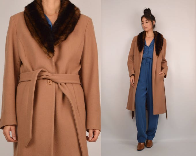 Wool Long Coat Faux Fur Collar Vintage