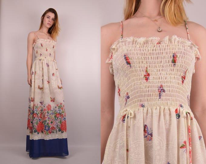 1970's Butterfly Maxi Dress