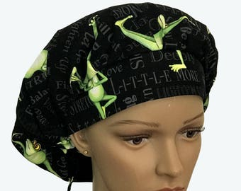 Bouffant Scrub Hat with ties - Back in 5 Minutes Bouffant scrub hat-Frog Yoga Ponytail Scrub hat - Custom Scrub Hat - Personalized Scrub hat
