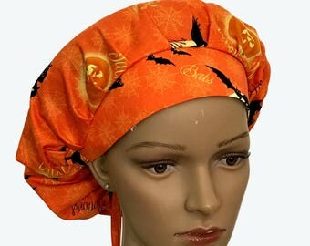 Bouffant Surgical Scrub Hat - Halloween Theme Scrub Hat - Witches and Bats on Orange Bouffant Scrub Hat - Ponytail Scrub hat - Doctor gift
