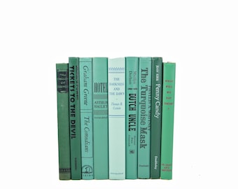Green Ocean Books, Decorative Books, Rustic Book stack, Antique BOoks Set, Book Decor, Farmhouse CHic, Old  Book Collection, fixer uupper