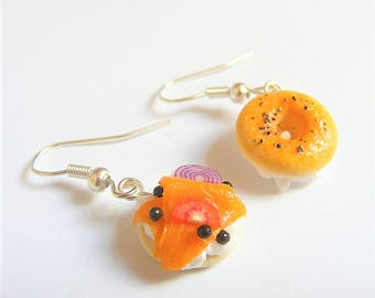 Food Jewelry Lox Bagel Earrings, Salmon Bagel, Bagel Jewelry, Miniature Food Earrings, Mini Food Jewellery, Bagel Charm, Cream Cheese Bagel