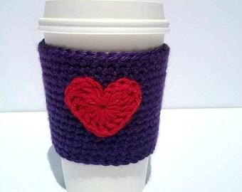 Purple Coffee Cozy, Red Heart Coffee Sleeve