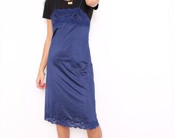 Vintage Retro 90s Navy Lingerie Lace Slip Cami Dress. Small. UK 8/10.