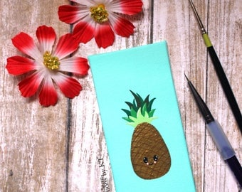 Gold Pineapple Mini Canvas READY TO SHIP Miniature Painting Acrylic Painting Pineapple Decor Hand Painted Kawaii Fruit