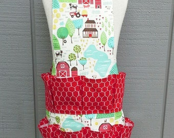 Egg Apron - Farm Fun - Collector's Apron - Pocket Apron - Children's Apron - Chicken Egg Apron - Treasure Aprons - Work Apron - Farm Girl