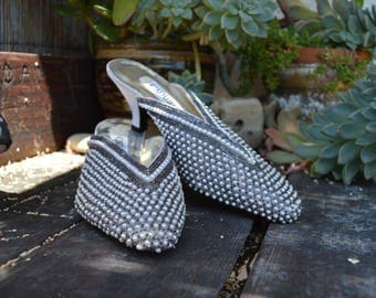 And Mirrors -silver mules - silver slippers - pointy backless heels - low mules - sparkly slip on heels - genie shoes - beaded slippers