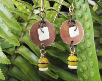 Copper earrings handmade in Hawaii, gold glass beads, puka shells, antique copper, FREE SHIPPING