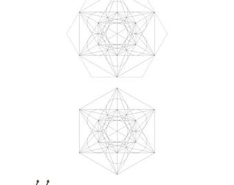 Metatron's Cube 3D Paper craft Decoration-DIY Decorations-A4 Printable Template-Coloring-Sacred Geometry-Crafts Activities-INSTANT DOWNLOAD