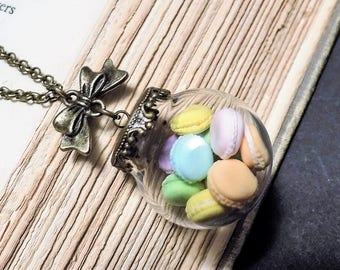 Bronze and Glass Rainbow Macaron Necklace