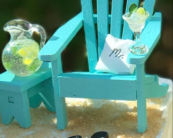 MOJITOS  on the BEACH - COMPLETE Beach Theme Wedding Cake Topper with Mr and Mrs Pillows - by Landscapes In Miniature