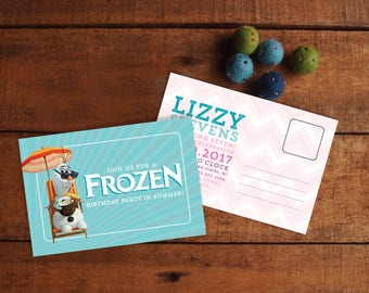 Frozen Birthday Invitation, Frozen Birthday Invite, Frozen in Summer, Birthday Postcard, Birthday Card, Printable Invitation or Printed