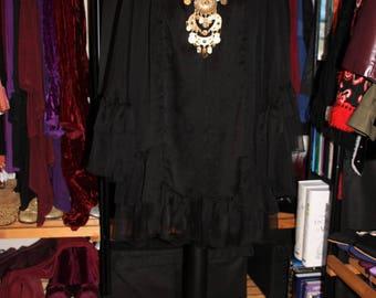 Dark Angel-Handmade 60's Style Floaty Chiffon Ruffled Tent Mini Dress