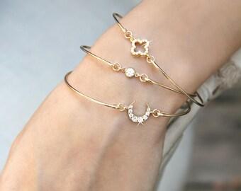 Bangle bracelet, 14k Gold Filled cz Stacking bracelet, 4 leaf clover, four leaf shamrock, crescent moon, solitaire cubic zirconia diamonds