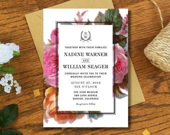 Floral Wedding Invitation Card - Vintage Botanical Wedding Invitation - Printable Invitation DIY