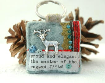 stag keyring, handmade stag deer gift, UK hunting accessories, sporting life, Scottish stag, deer hunting gift, wildlife key ring, UK stag