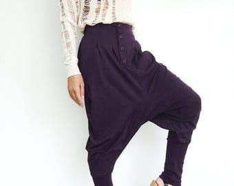 NO.64 Purple Cotton Jersey Casual Baggy Dance Harem Pants Stylish Button Fly Drop-Crotch Trousers