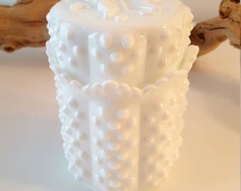 Vintage Fenton White Hobnail Milk Glass Cannister w/Butterfly Lid
