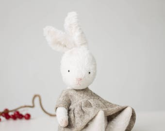 Made To Order Mohair Rabbit Holly Embroidered Wool Dress 7 Inches, Stuffed Animal, Stuffed Bunny, Handmade Toy, Christmas Gift For Her