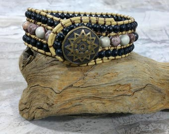 Leather Cuff Bracelet Beaded, Beaded Leather Wrap, Earthy Leather Beaded Cuff Bracelet for Women, Mens Bead Cuff,  , Gift, For Men