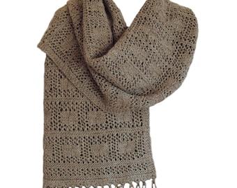 Hand Knit Shawl or Wrap - Brown Checkerboard Australian Wool