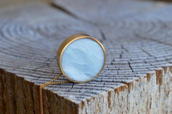 Brass and Solid Marble Handmade Circle Pendant Necklace - Minimalist Jewelry Geometric Yellow White Stone Simple Beautiful Metalwork Marbled