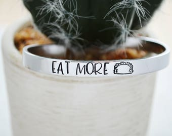 Eat More Tacos Bracelet - Taco Tuesday - Gift for Best Friend Jewelry - Tacos Twosdays - Tacos and Tequila Best Friends Bracelet for Women