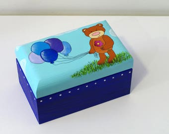 Decorative wooden box girls boys Wooden jewelry boxes Keepsake box Birthday Gift box Jewelry wooden box Teddy bear jewelry box Blue box
