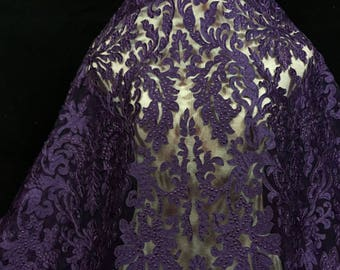 Eggplant Laser Cut Lace, Purple Lace, Lace Fabric, Dress Lace, Embroidered Fabric, Lace Material, Purple Fabric, Purple Lace Fabric (C11)