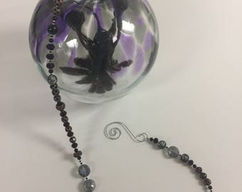 Large Witch Ball Glass Window Ornament - Purple and Black