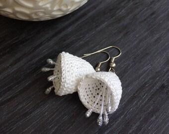 Bridal Boho Earrings, Crochet Earrings, Bellflower Earrings, Unique Earrings, Natural Jewelry, Wedding Earrings, Crochet Jewelry, ReddApple