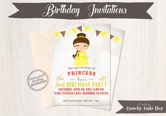 Princess Belle Customizable Birthday Invitations, Princess, Girl Birthday Invitations, Beauty and the Beast Birthday, Printable, Belle 057