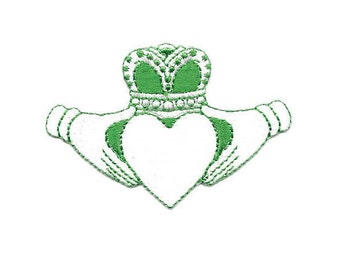 Claddagh - Irish - Love - Loyalty - Friendship - White & Green Embroidered Iron On Patch