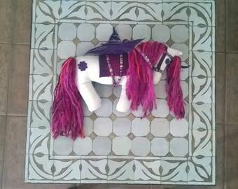 SALE Soft Sculpture Plush Unicorn Pegasus Fantasy Horse in Pink, Purple, Grey and White