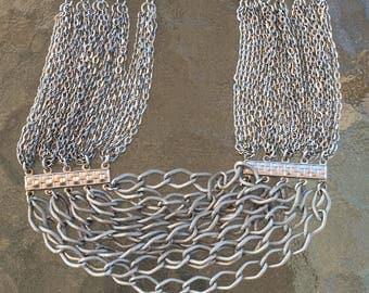 Multi-strand silver tone metal choker necklace and bracelet set, brushed patterned metal, mid century,
