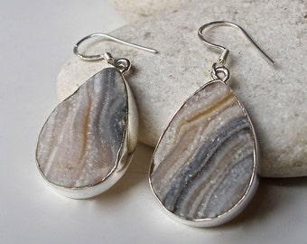 Druzy Sterling Silver Earring Dangle Drop Teardrop Druzy Pear Shape Handmade Genuine Real Druzy Earring Boho Bohemian