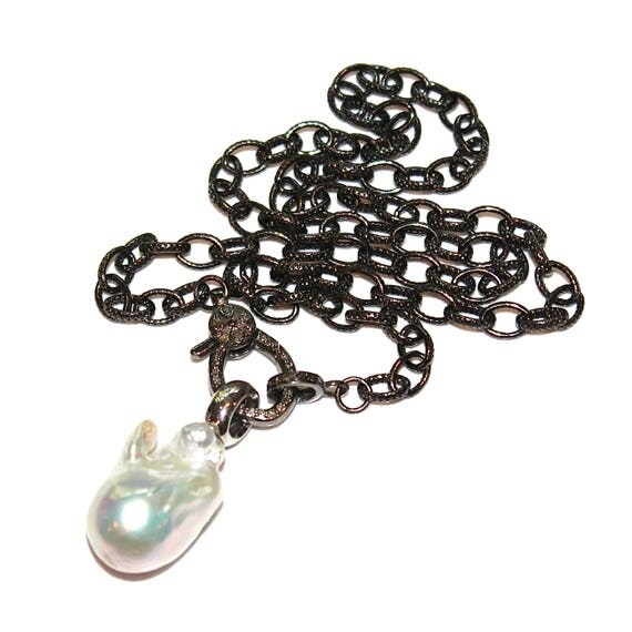 Large Baroque Pearl Necklace Diamond Lock Necklace Oxidized Necklace Diamond Necklace Diamond Jewelry Stacking Necklace Pave Necklace Locks