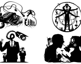 Prints of Will Pigg's Original Silhouette Paper cuts on 100lb Stipple Paper see listing for designs available