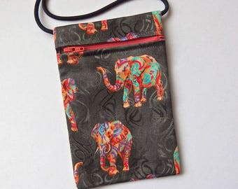 Pouch Zip Bag ELEPHANTS Charcoal Fabric.  Great for walkers, markets, travel. Small fabric Purse. Cell Phone Pouch.  cross body pouch